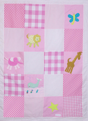 Patchworkdecke rosa mit Applikation Zoo