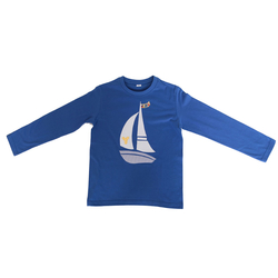 T-Shirt blau mit Applikation Segelschiff