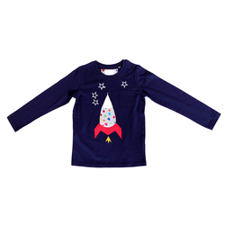 T-Shirt navy mit Applikation Rakete