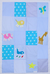 Patchworkdecke blau mit Applikation Zoo
